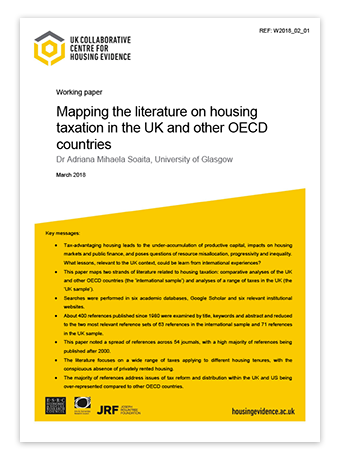 Working paper thumbnail - mapping on housing taxation