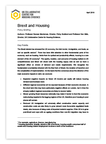 Policy Briefing: Brexit and Housing