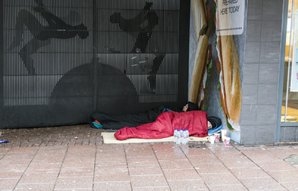 Homeless man sleeping in Cardiff